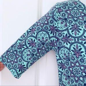 LuLaRoe Dresses - LuLaRoe Blue Floral 1/4 Sleeve Julia Fitted Dress
